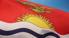 Flag of Kiribati - South Pacific Ocean. The national flag of Kiribati in the South Pacific stock footage