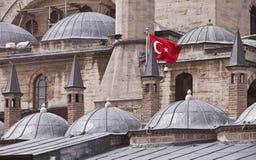 Flag on Konya Building in Turkey. Turkish flag on exterior of Rumi Museum in Konya royalty free stock images