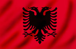 Flag of Kosovo. Waving, top left light, suitable to use it as background Vector Illustration