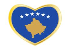 Flag of Kosovo in heart shape, golden frame Royalty Free Stock Images