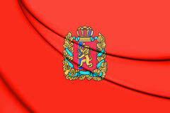 Flag of Krasnoyarsk Krai, Russia. 3D Illustration Stock Photo