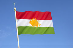 Flag of Kurdistan. Currently used as the official flag of the autonomous Kurdistan Region in Iraq which is under control of the Kurdistan Regional Government Royalty Free Stock Photo