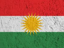 Flag of Kurdistan painted on a wall. Flag of Kurdistan painted on a wall background Royalty Free Stock Image