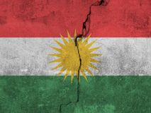 Flag of Kurdistan painted on a wall. Flag of Kurdistan painted on a wall background Stock Images