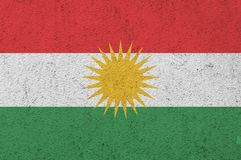 Flag of Kurdistan painted on a wall. Flag of Kurdistan painted on a wall background Stock Photography