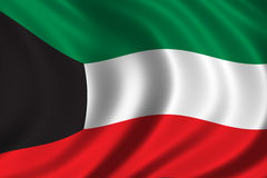 Flag of Kuwait. Waving in the wind Stock Image