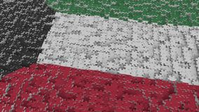 Flag of Kuwait being made with jigsaw puzzle pieces. Kuwaiti problem solution conceptual 3D rendering. Flag made of puzzle pieces, conceptual 3D royalty free illustration