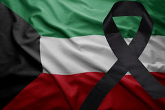 Flag of kuwait with black mourning ribbon Stock Image