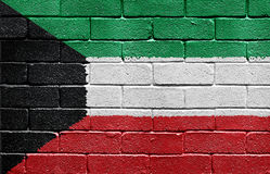 Flag of Kuwait on brick wall Stock Photos