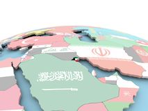 Flag of Kuwait on bright globe. Kuwait on political globe with embedded flags. 3D illustration Stock Image
