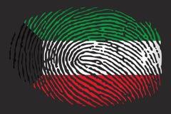 Flag of Kuwait in the form of a fingerprint on a black background stock illustration