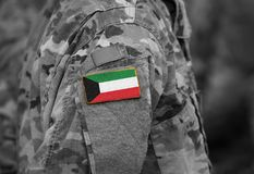 Flag of Kuwait on soldiers arm collage.  royalty free stock image