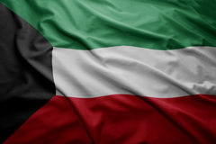 Flag of Kuwait. Waving colorful national Kuwait flag royalty free stock photo
