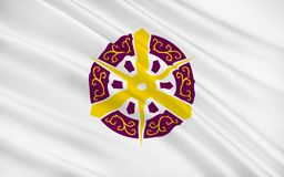 Flag of Kyoto is a city of Kyoto Prefecture, Japan. Flag of Kyoto is a city located in the central part of the island of Honshu, Japan. 3D rendering royalty free illustration
