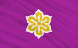 Flag of Kyoto Prefecture, Japan. Flag of Kyoto Prefecture is a prefecture of Japan located in the Kansai region of the island of Honshu. 3D rendering vector illustration