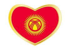 Flag of Kyrgyzstan in heart shape, golden frame Stock Photo