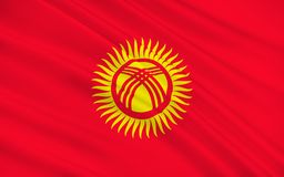 Flag of Kyrgyzstan stock illustration