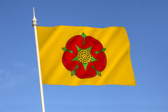 Flag of Lancashire - United Kingdom. The British Regional flag of Lancashire - the flag of the County Palatine of Lancaster. The Red Rose of Lancaster is a stock photo