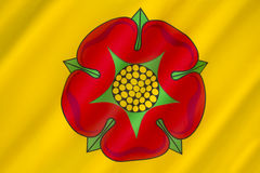 Flag of Lancashire - United Kingdom. The British Regional flag of Lancashire - the flag of the County Palatine of Lancaster. The Red Rose of Lancaster is a stock photos