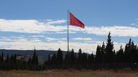 Flag and landscape. In Gallipoli Royalty Free Stock Photography