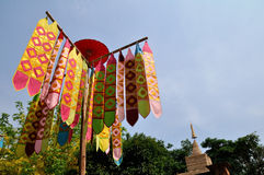 Flag of Lanna Thai in Temple Stock Images