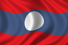 Flag of Laos. Waving in the wind Stock Image