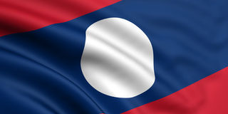 Flag Of Laos. 3d rendered and waving flag of laos Royalty Free Stock Image