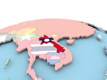 Flag of Laos on bright globe. Laos on political globe with embedded flags. 3D illustration Stock Photography