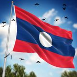 Flag of Laos. This is a computer generated and 3d rendered image Stock Photography