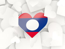Flag of laos, heart shaped stickers. Background. 3D illustration Royalty Free Stock Images