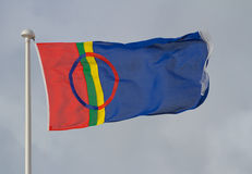 The flag of Lapland. The flag of the Lapland region and the Sami people flying on a flag pole Stock Image