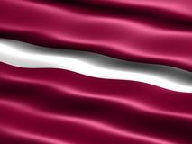Flag of Latvia. Computer generated illustration of the flag of Latvia with silky appearance and waves royalty free illustration