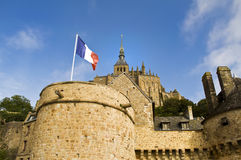 Flag in the Le Mon Sant Michel. French flag located on Le Mon Sant Michel Stock Photography