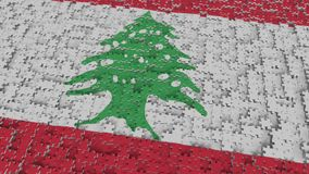 Flag of Lebanon being made with jigsaw puzzle pieces. Lebanese problem solution conceptual 3D rendering. Flag made of puzzle pieces, conceptual 3D stock illustration