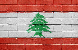 Flag of Lebanon on brick wall Royalty Free Stock Photos