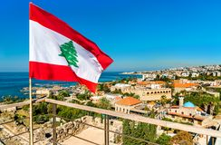 Flag of Lebanon at Byblos Castle. Flag of Lebanon at the Crusader Castle in Byblos stock photography