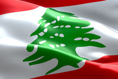 Flag of lebanon strip waving texture fabric background, national symbol arabic islam culture Royalty Free Stock Images
