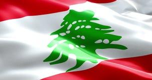 Flag of lebanon strip waving texture fabric background, national symbol arabic islam culture stock video footage