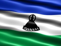 Flag of Lesotho. Computer generated illustration of the flag of Lesotho with silky appearance and waves Stock Photos