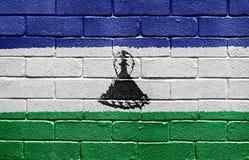 Flag of Lesotho on brick wall Royalty Free Stock Photo