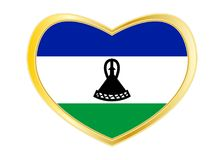 Flag of Lesotho in heart shape, golden frame Royalty Free Stock Photos