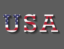 Flag and Letters of United States of America- USA. Long shadow Royalty Free Stock Images
