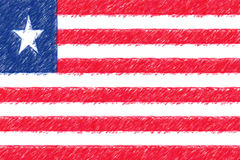Flag of Liberia background o texture, color pencil effect. Royalty Free Stock Photos