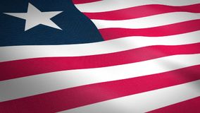 Flag of Liberia. Waving flag with highly detailed fabric texture seamless loopable video. Seamless loop with highly stock illustration