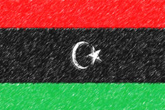 Flag of Libya background o texture, color pencil effect. Stock Photos