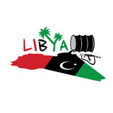 Flag of Libya and oil barrel. Illustration with map and flag of Libya and oil barrel vector illustration