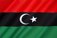 Flag of Libya. Originally introduced in 1951. It fell out of use in 1969, but was subsequently adopted by the National Transitional Council and anti-Gaddafi Royalty Free Stock Photo