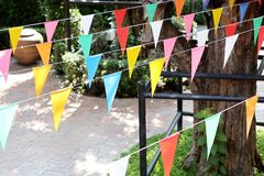 Flag line for celebrate event and fsetival royalty free stock image