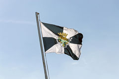 Lisbon flag. The municipal flag of Lisbon wave in the wind with blue sky Stock Photography