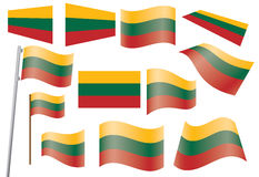 Flag of Lithuania. Set of flags of Lithuania vector illustration Stock Photo